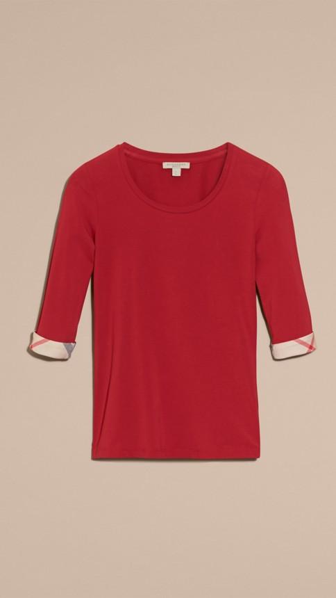 Rouge laque Haut en coton extensible avec revers à motif check Rouge Laque - Image 4