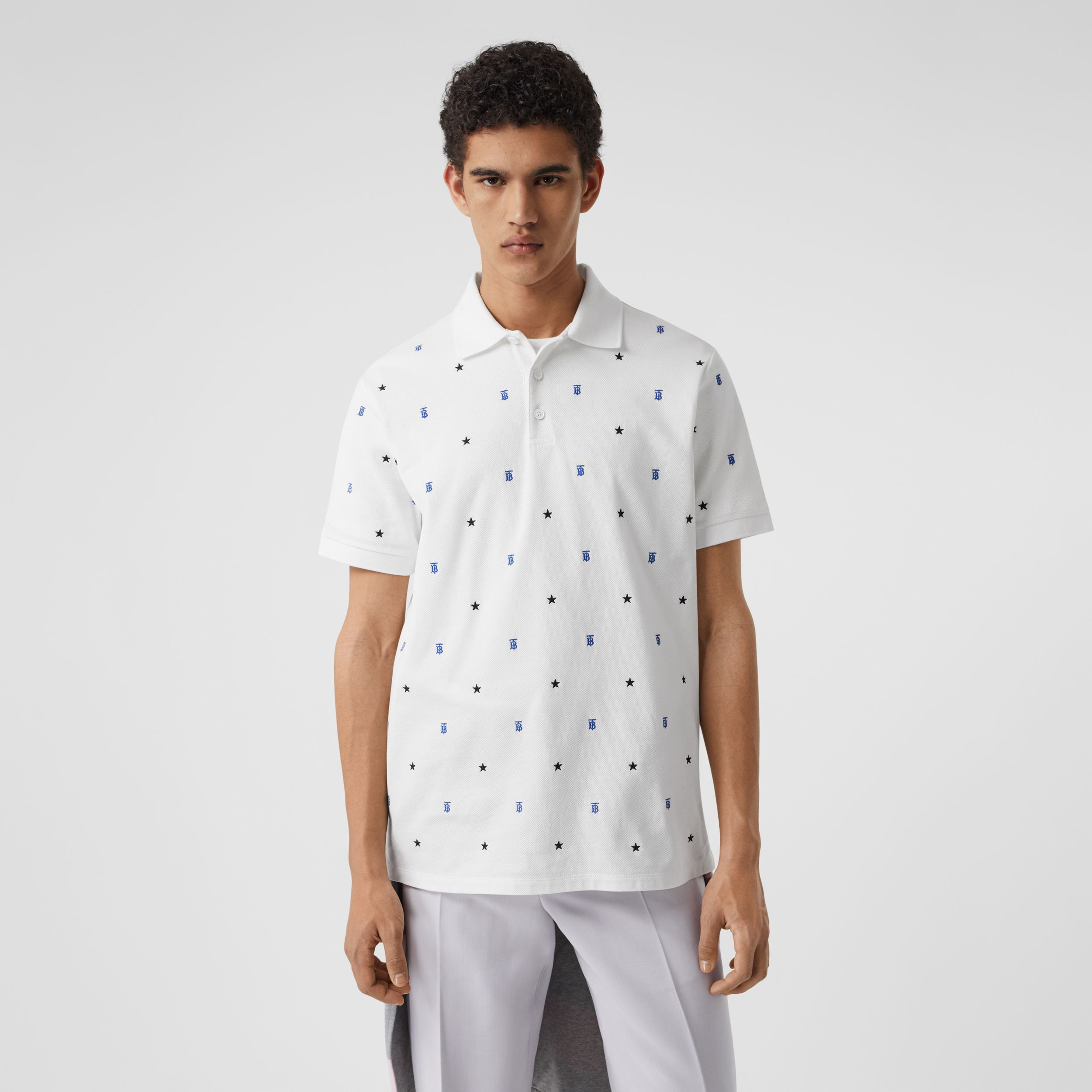 Star and Monogram Motif Cotton Piqué Polo Shirt in White - Men | Burberry - 1