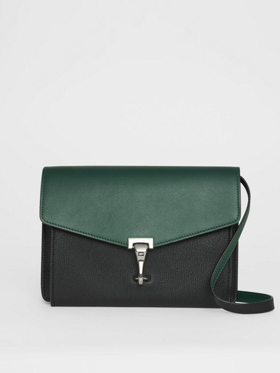 Two-tone Leather Crossbody Bag in Black/sea Green