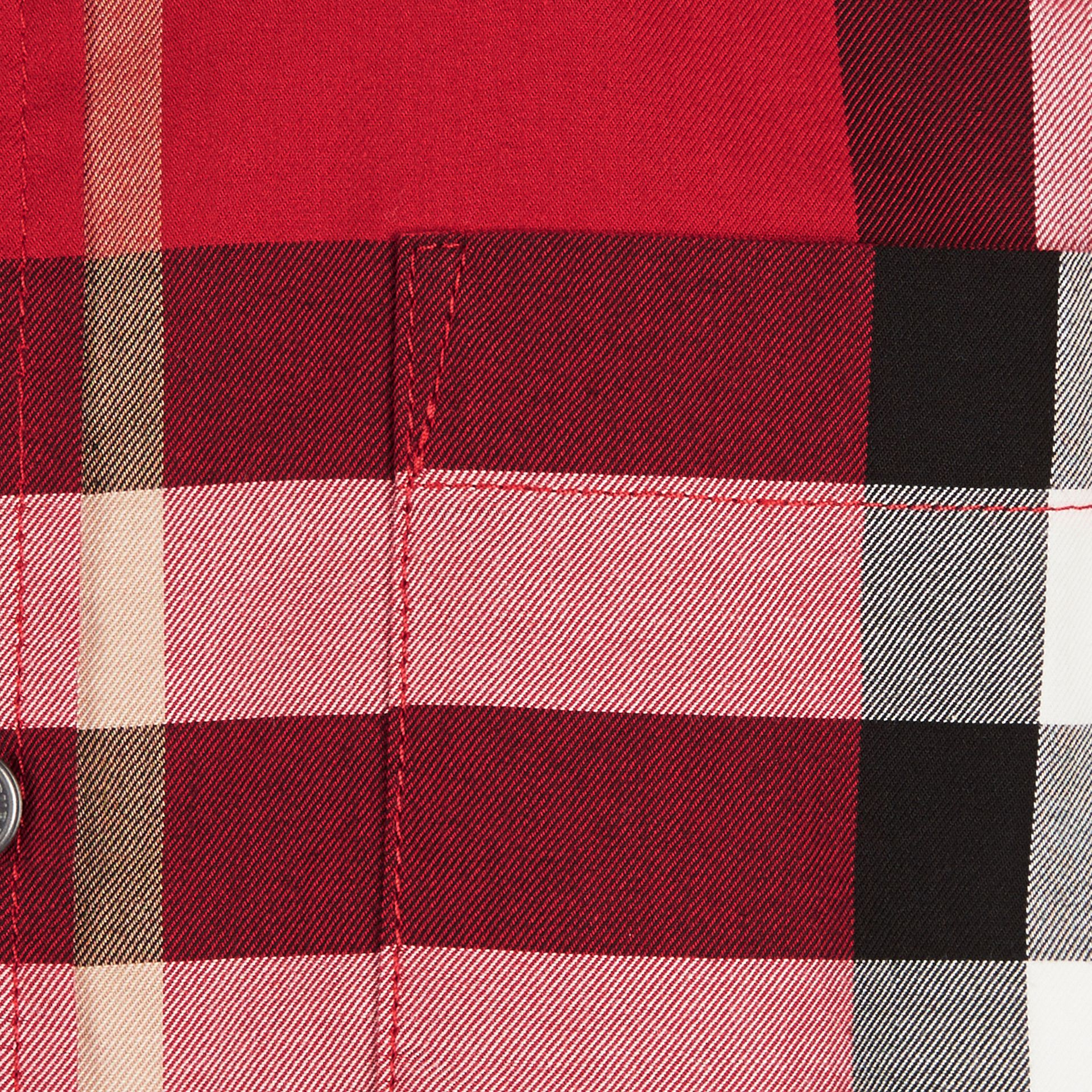 Short-sleeve Check Cotton Twill Shirt in Parade Red - gallery image 2