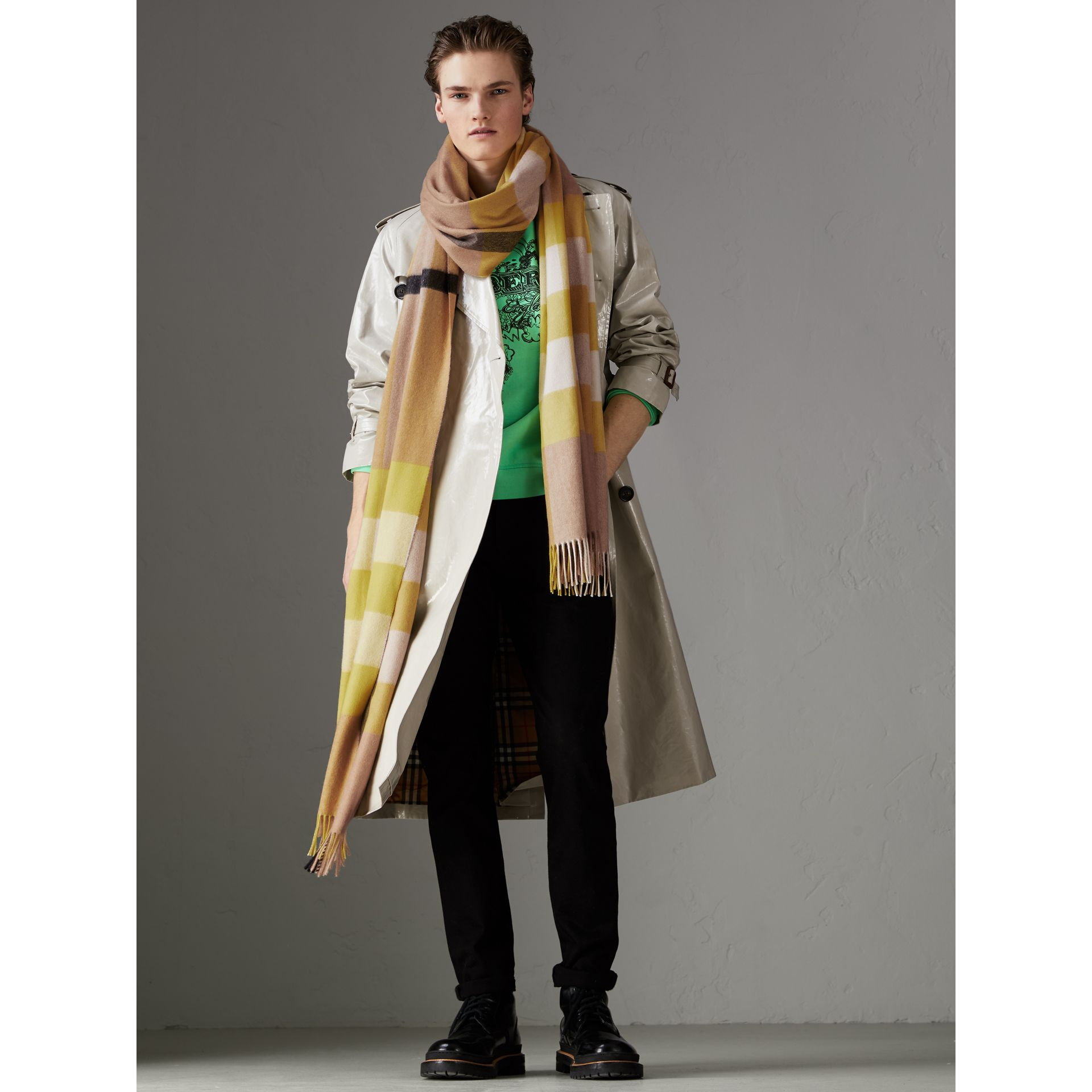 Oversize Check Cashmere Scarf in Bright Lemon | Burberry Australia - gallery image 3