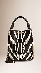 The Small Bucket Bag in Fringed Animal Print Calfskin