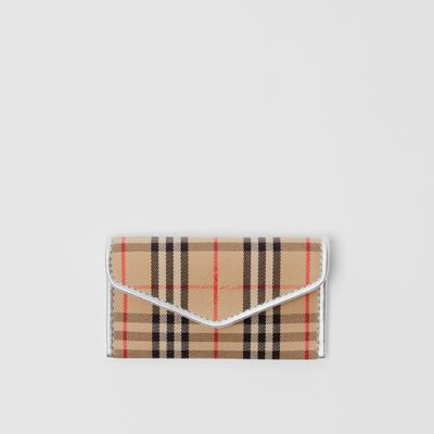 1983 Check And Leather Envelope Card Case by Burberry