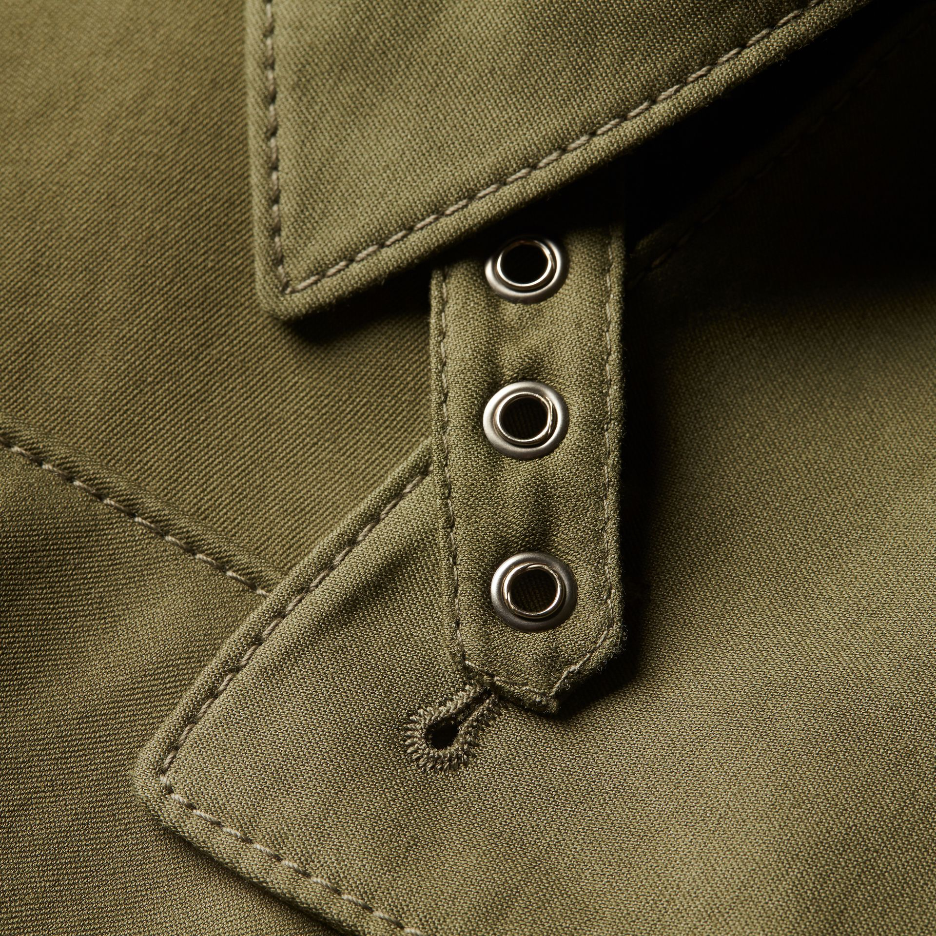 Military green Longline Ramie Cotton Wrap Coat - gallery image 2