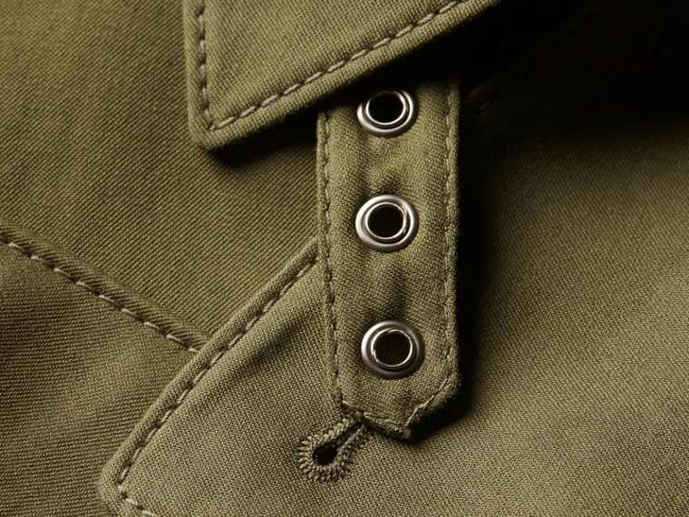Military green Longline Ramie Cotton Wrap Coat - cell image 1