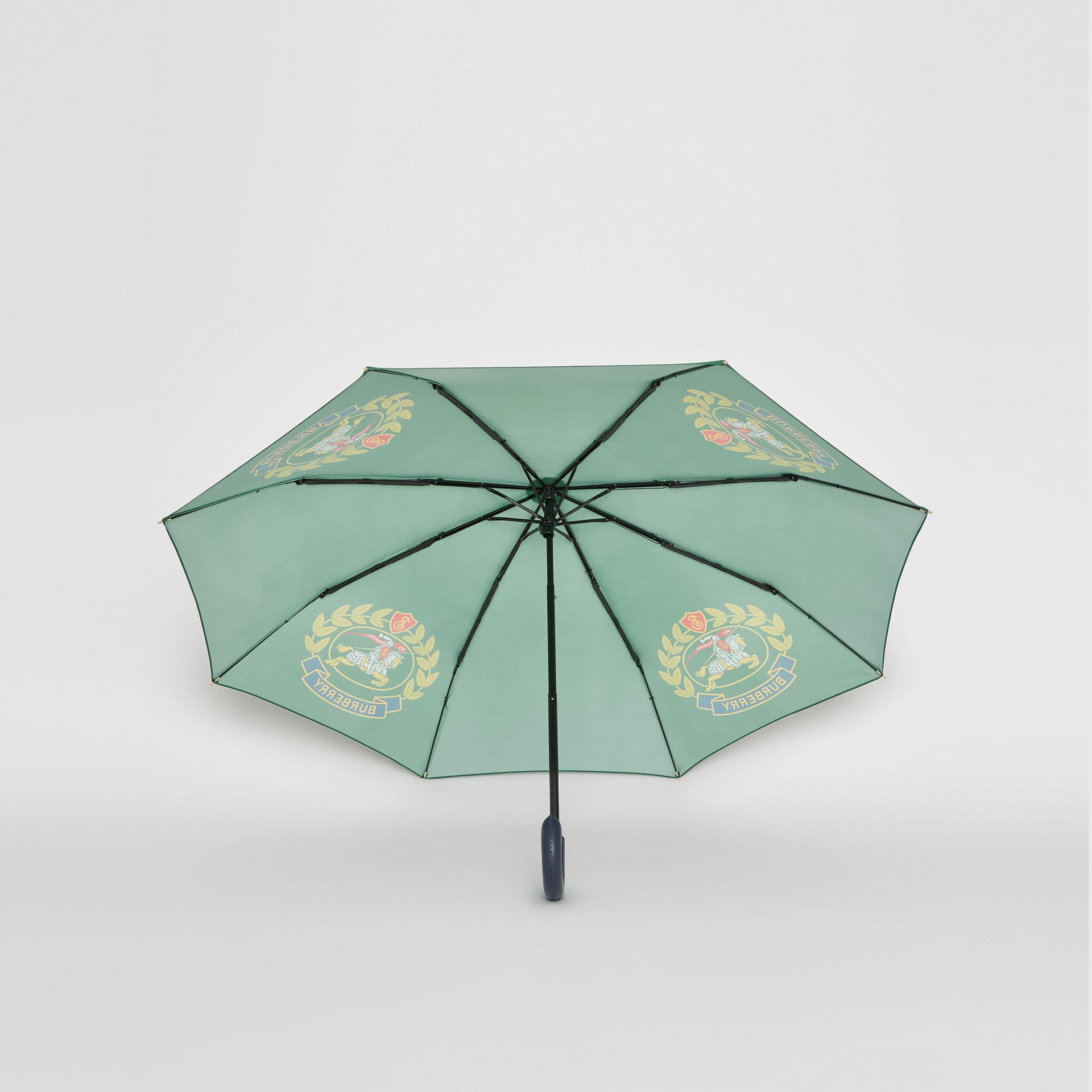 Crest Print Folding Umbrella in Dark Forest Green | Burberry Canada - gallery image 4