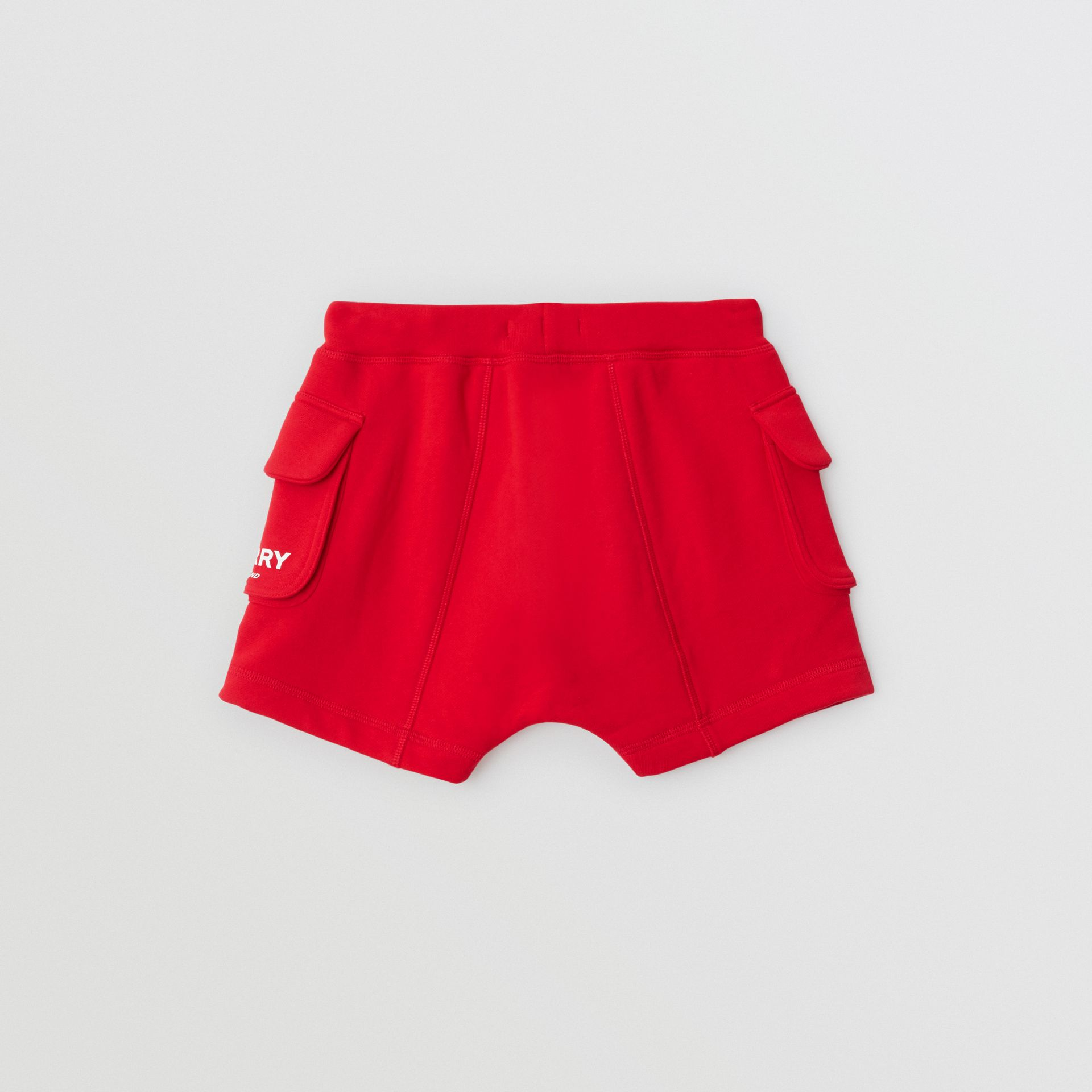 Logo Print Cotton Drawcord Shorts in Bright Red | Burberry - gallery image 4