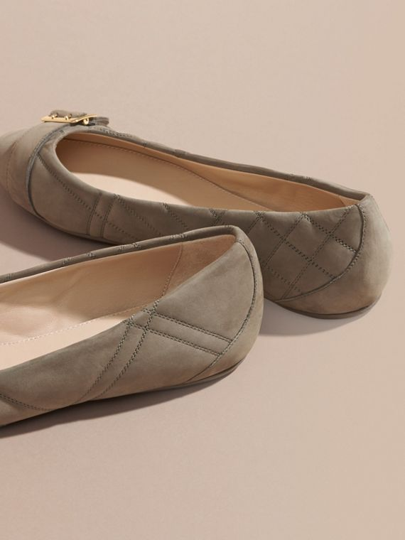 Buckle Detail Quilted Suede Ballerinas in Dark Heather Melange - Women | Burberry - cell image 3