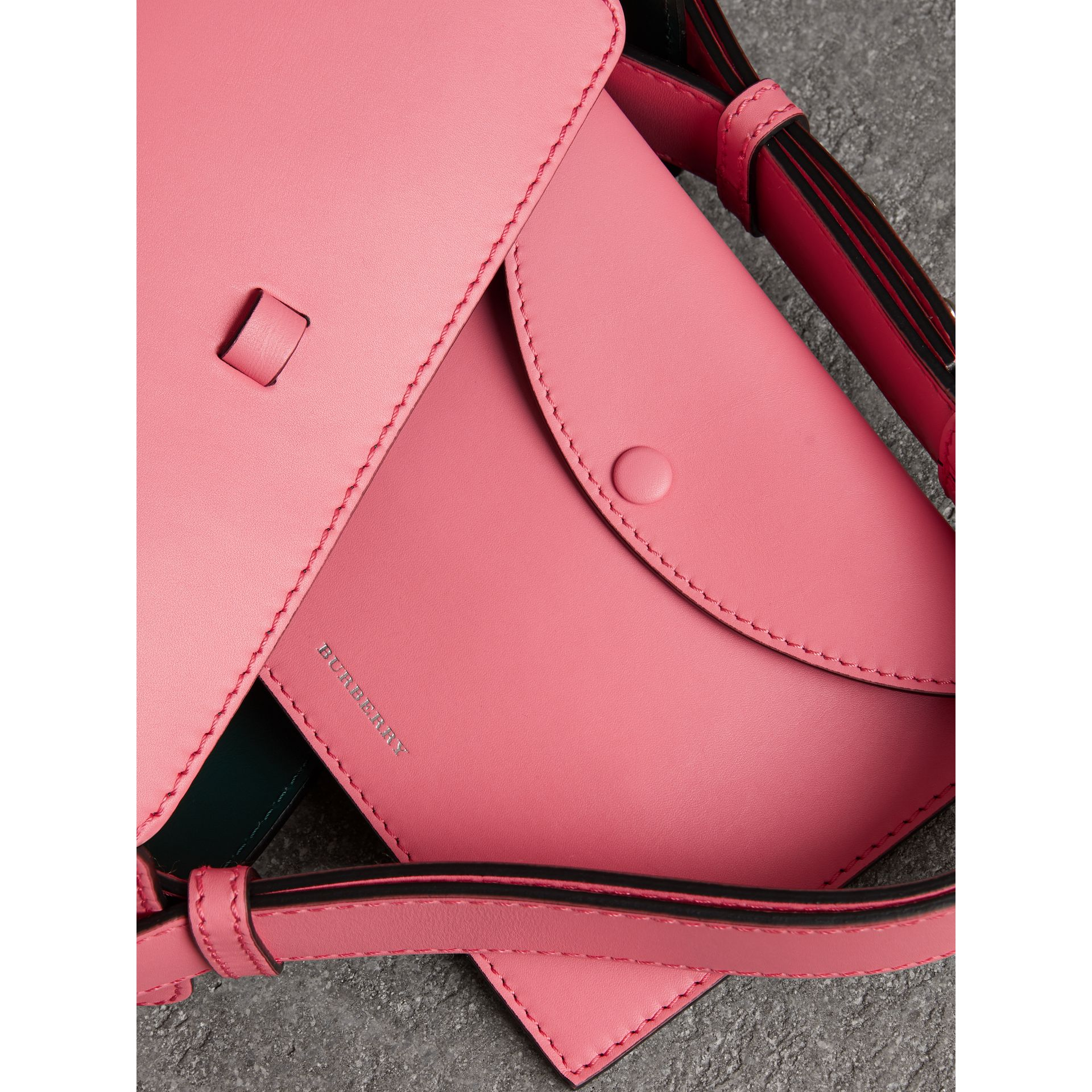 The Small Leather Bucket Bag in Bright Coral Pink - Women | Burberry United Kingdom - gallery image 4