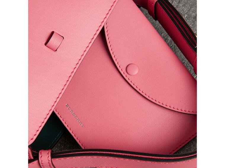 The Small Leather Bucket Bag in Bright Coral Pink - Women | Burberry - cell image 4