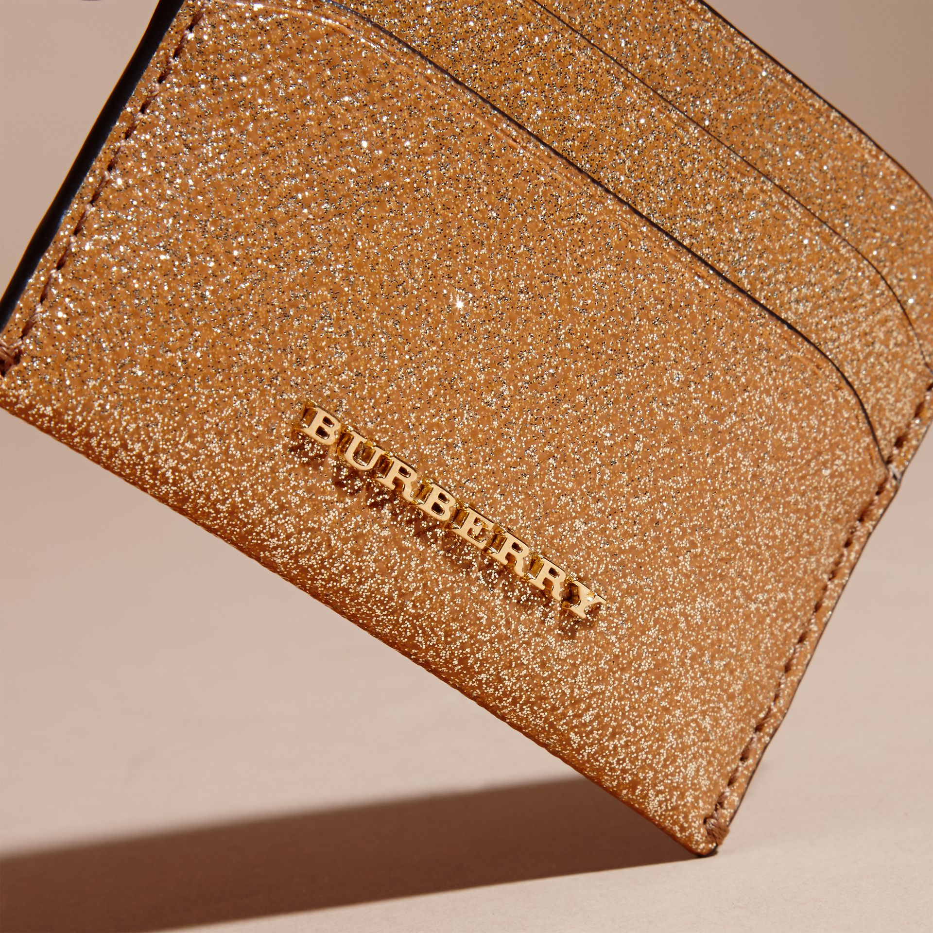 London Leather Glitter Card Case in Camel / Gold - gallery image 2