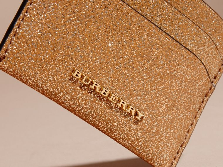 London Leather Glitter Card Case in Camel / Gold - cell image 1