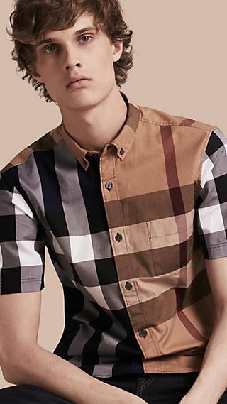 Short-sleeved Colour Block Check Cotton Shirt