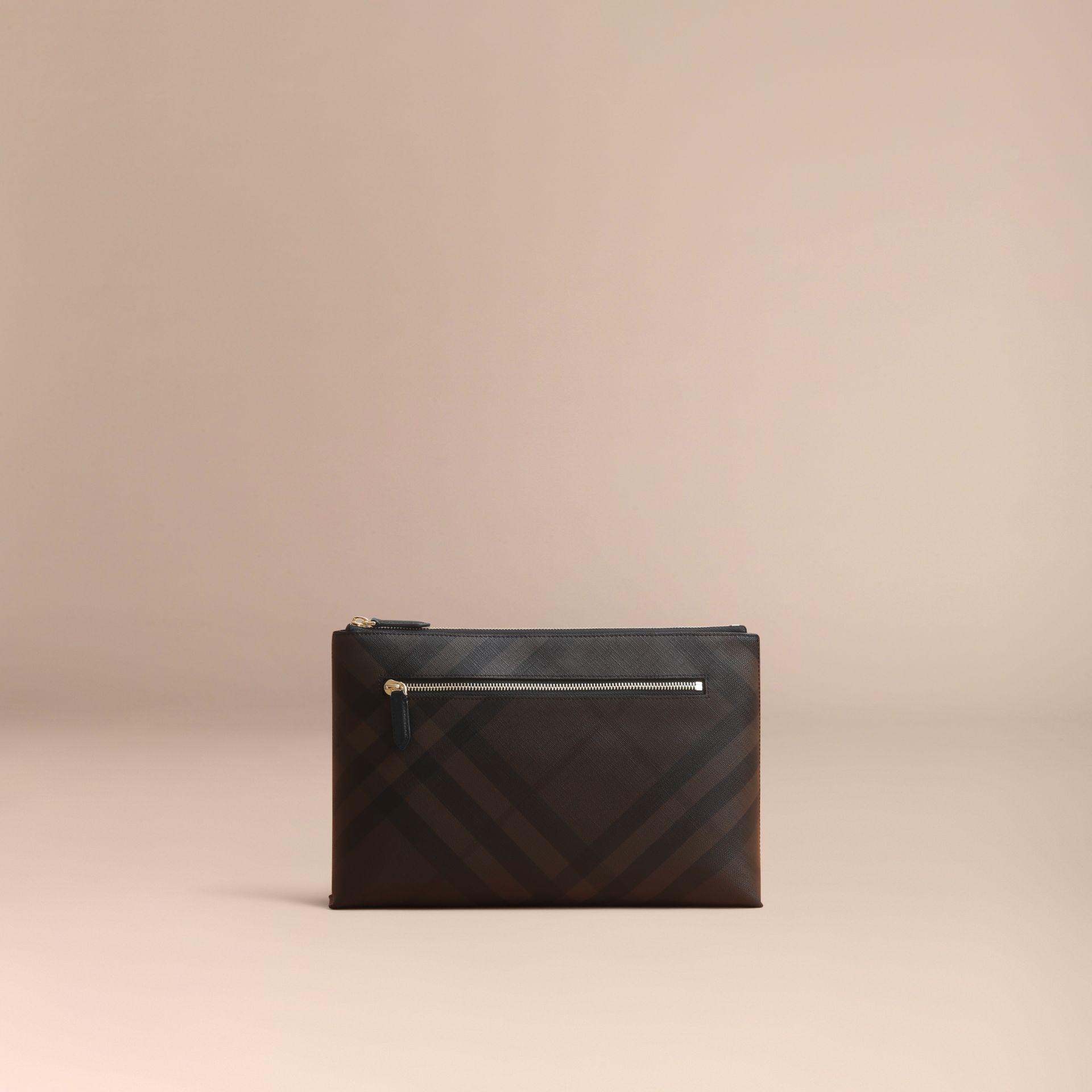 Large London Check Zip Pouch in Chocolate/black - gallery image 6