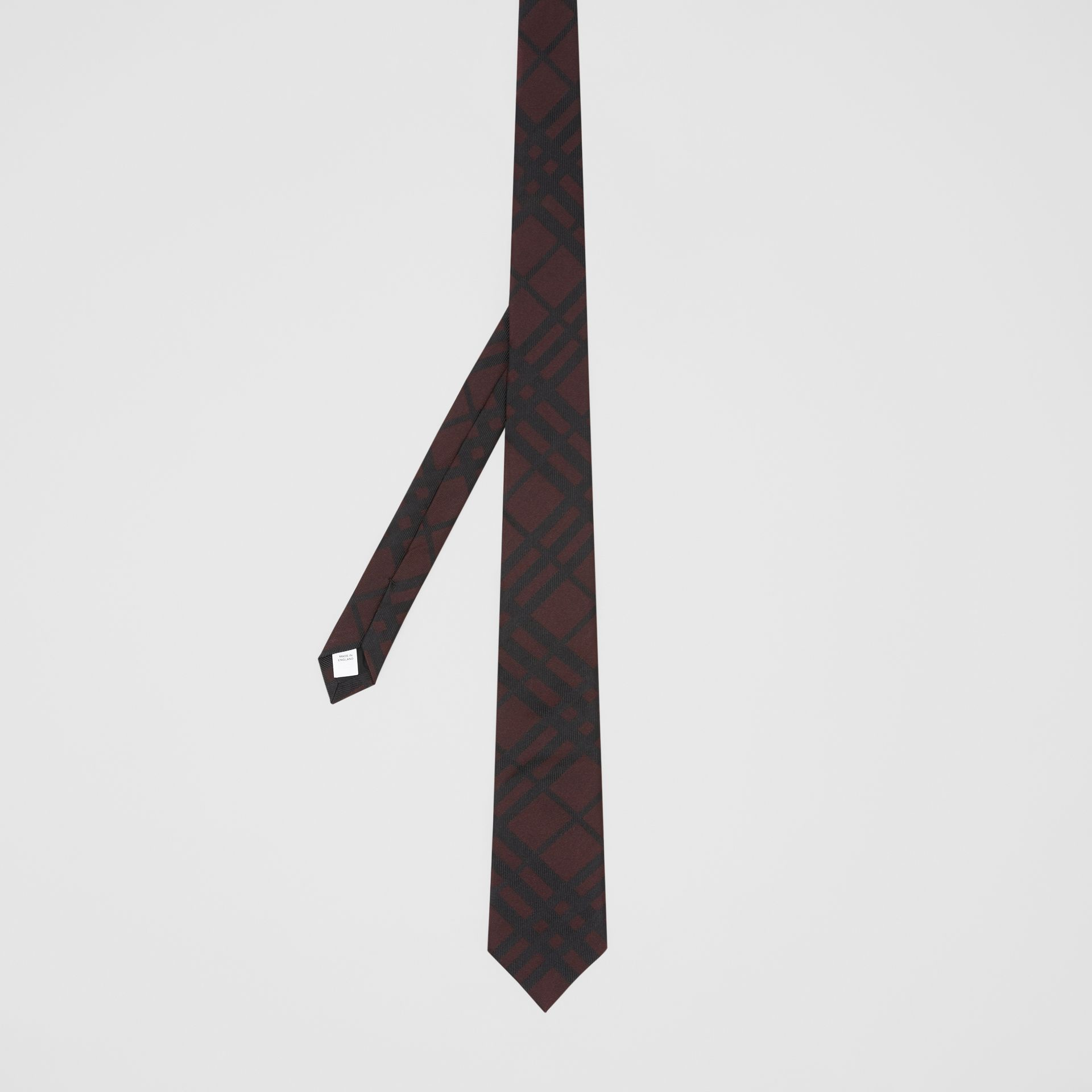 Classic Cut Check Silk Jacquard Tie in Oxblood - Men | Burberry Singapore - gallery image 4