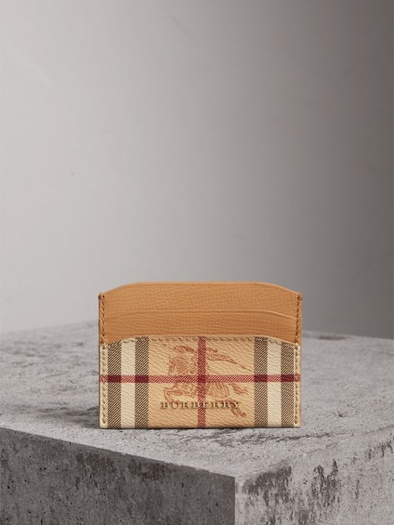 Haymarket Check and Leather Card Case in Mid Camel - Women | Burberry Singapore - cell image 3