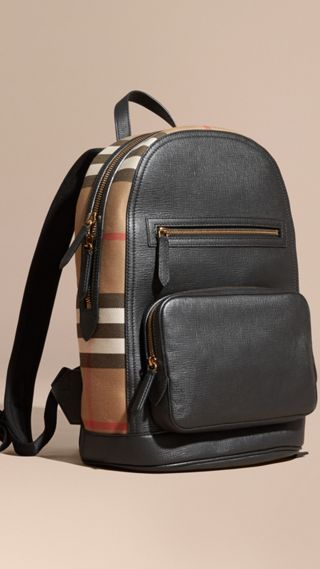 Textured Leather and House Check Backpack