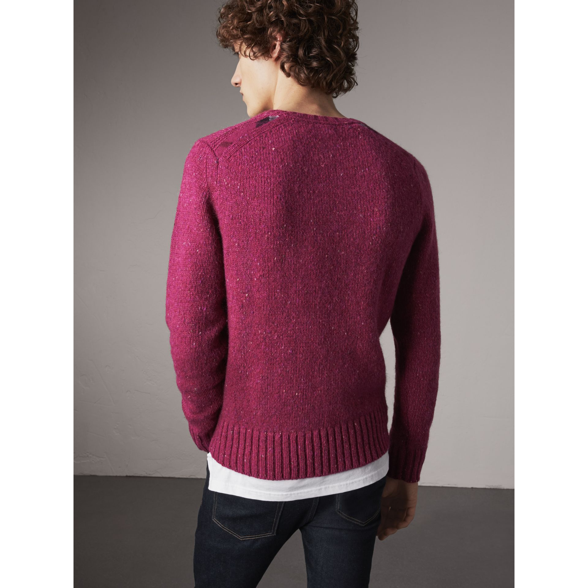 Wool Cashmere Mohair Tweed Sweater in Crimson Pink - Men | Burberry - gallery image 3