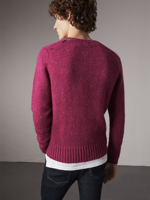 Wool Cashmere Mohair Tweed Sweater in Crimson Pink - Men | Burberry - cell image 2