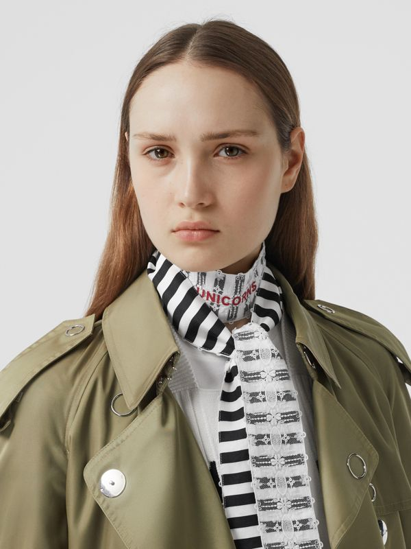 Lace Panel Stripe Print Silk Skinny Scarf in White | Burberry United States - cell image 2