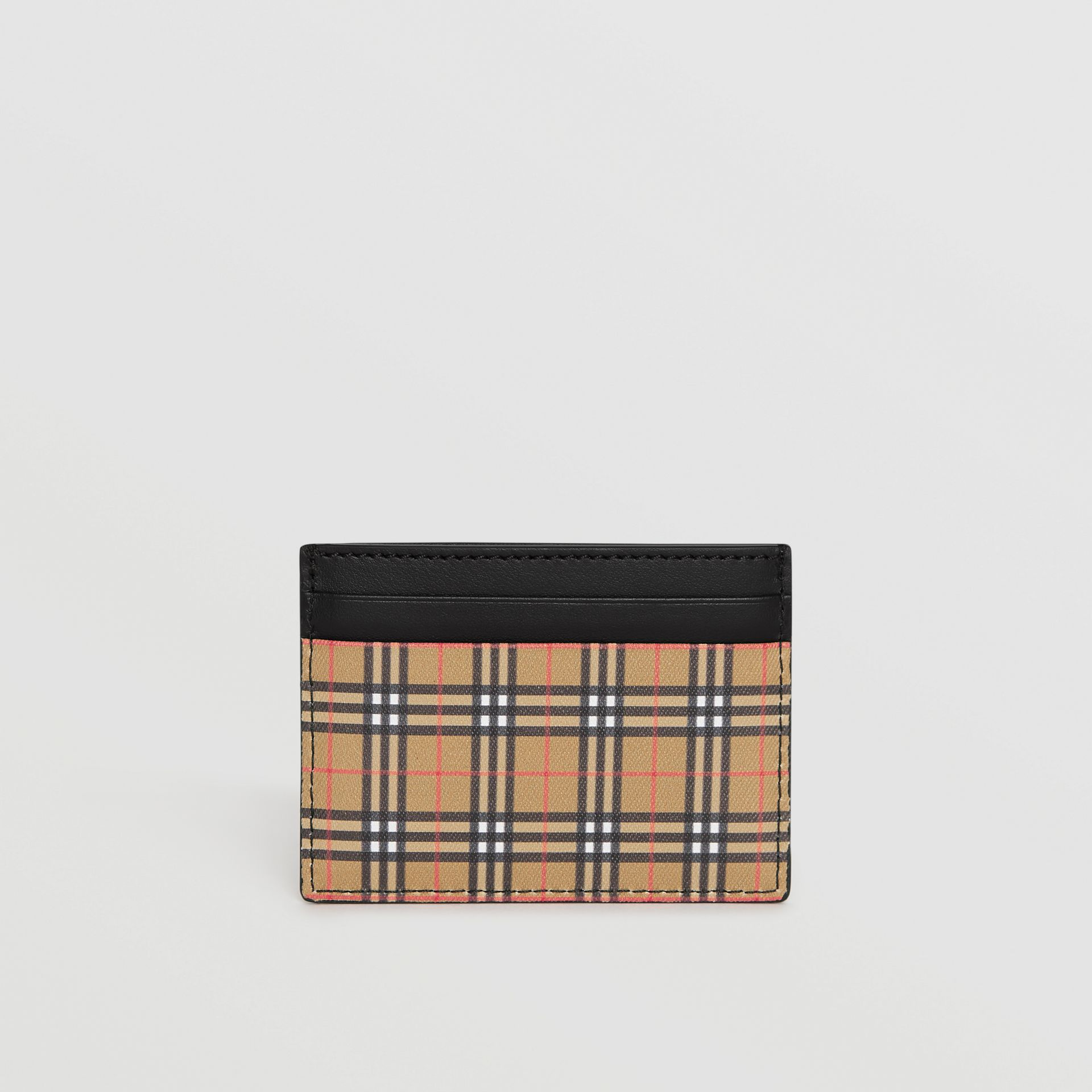 Vintage Check and Leather Card Case in Antique Yellow/black - Men | Burberry Australia - gallery image 4