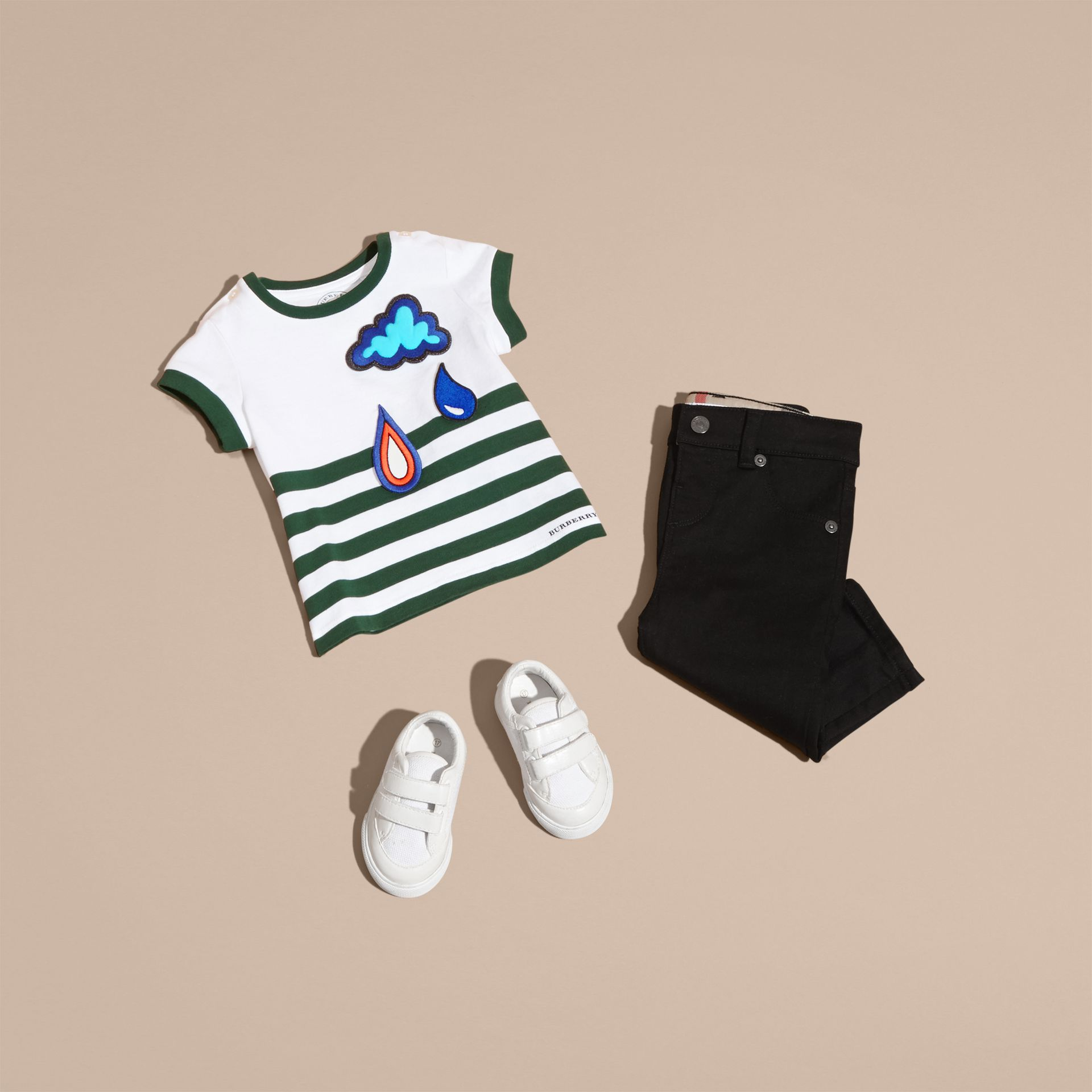 Racing green Striped Cotton T-shirt with Appliqué - gallery image 5
