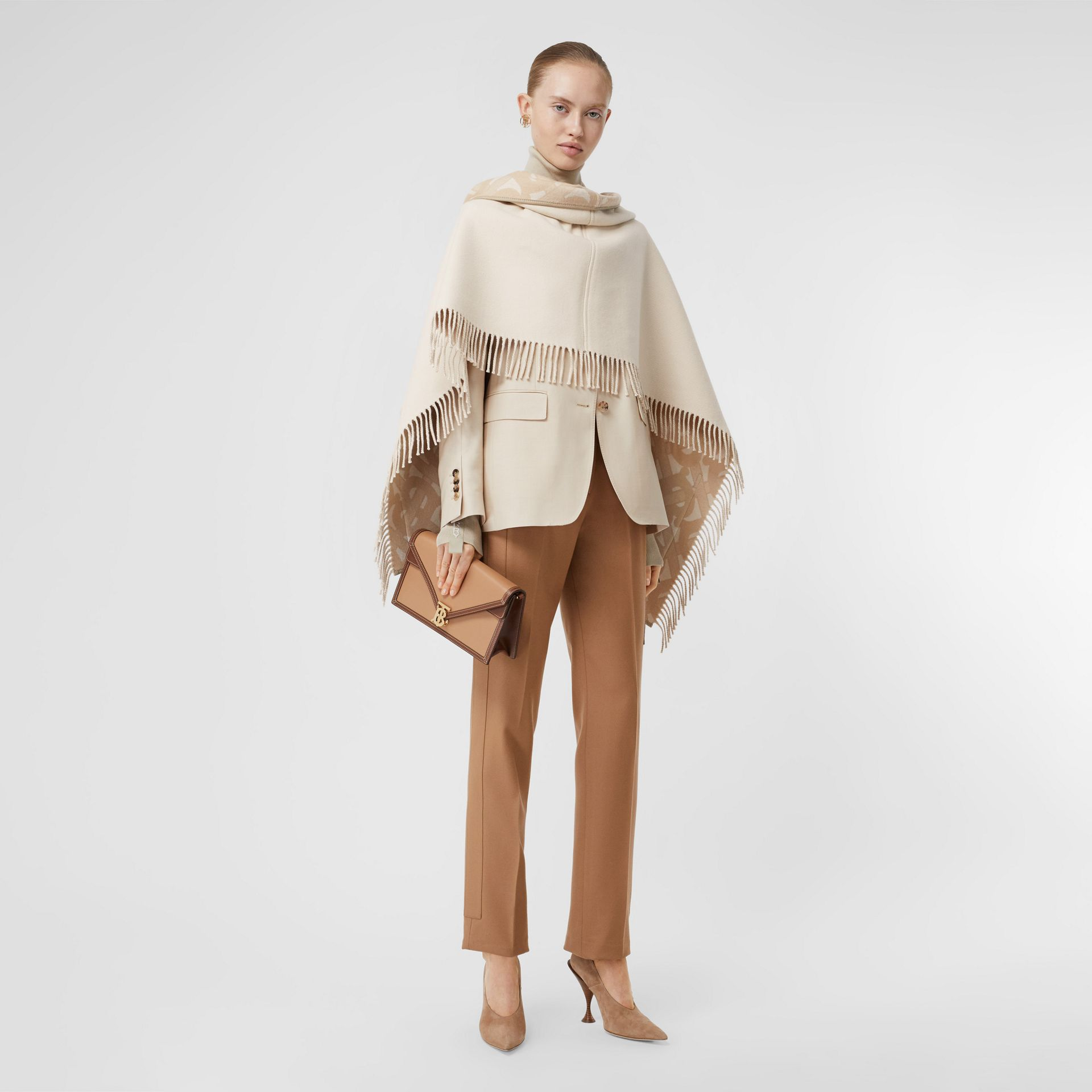 Monogram Merino Wool Cashmere Jacquard Cape in Soft Fawn - Women | Burberry United Kingdom - gallery image 0