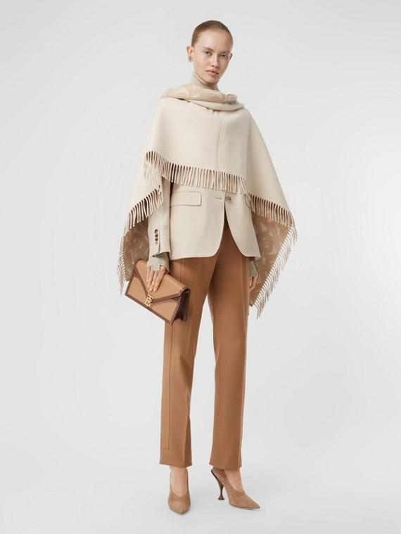 Capa en lana de merino y cachemir con motivo de monogramas en jacquard (Rosa Beige Suave)