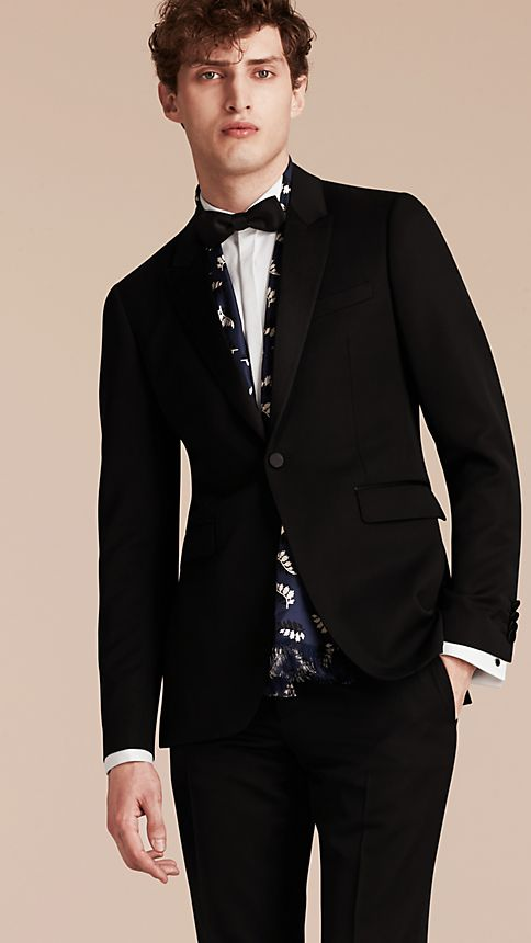 Black Satin Lapel Tuxedo Jacket - Image 1