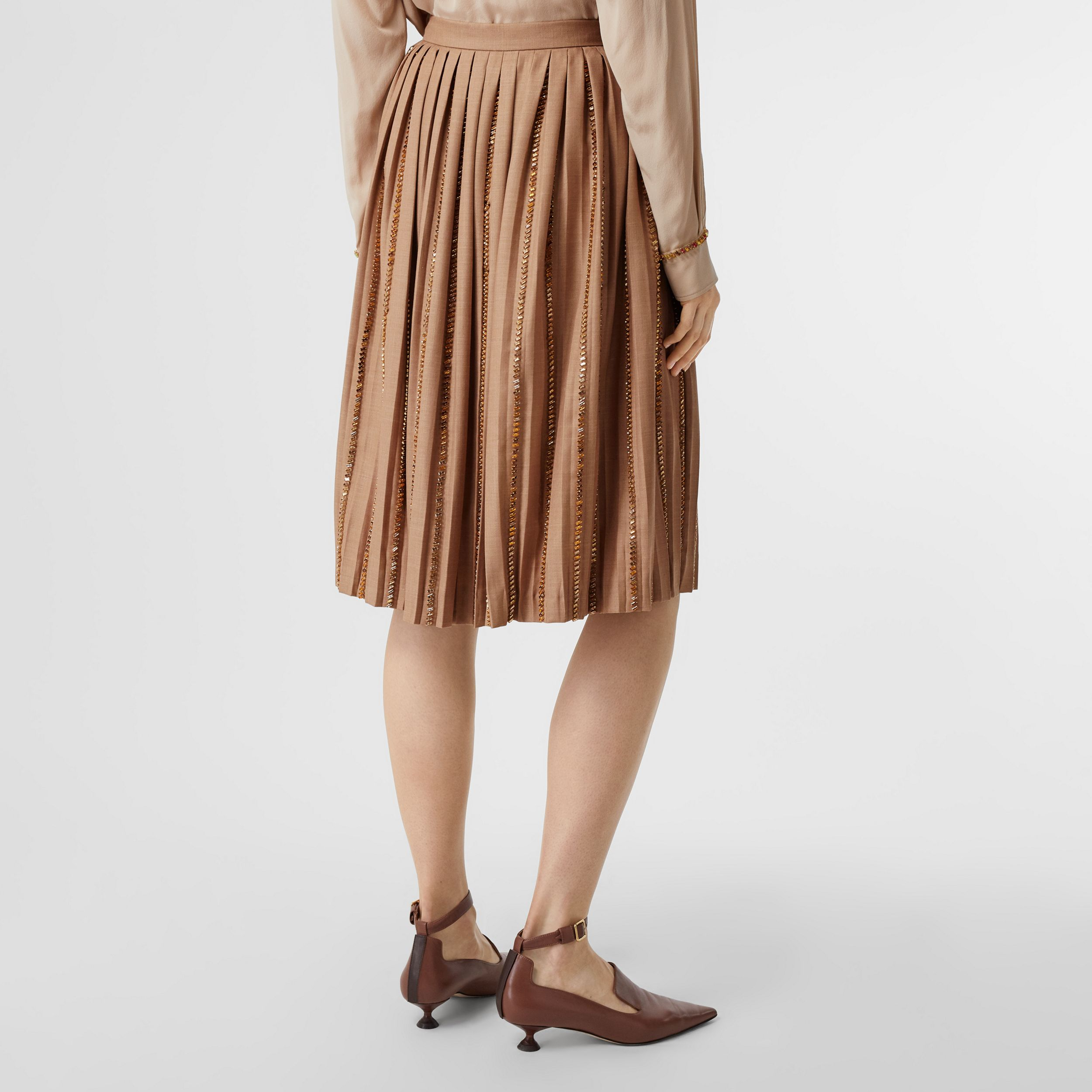 Crystal Detail Plissé Soleil Wool Silk Blend Skirt in Biscuit - Women | Burberry - 3