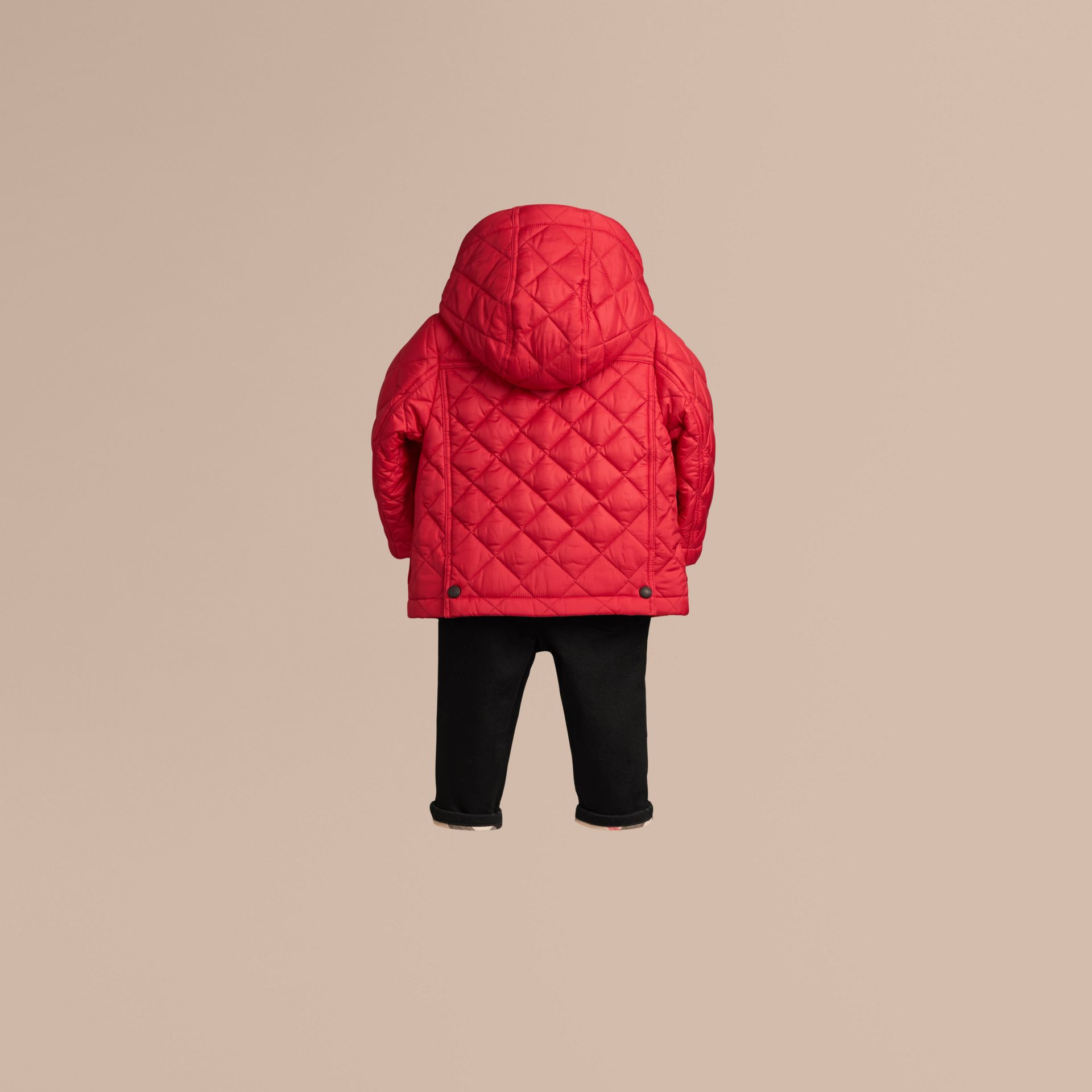Check Detail Diamond-quilted Jacket in Bright Cherry Red | Burberry - gallery image 3