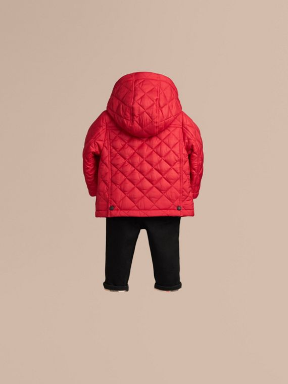 Bright cherry red Check Detail Diamond-quilted Jacket Bright Cherry Red - cell image 3