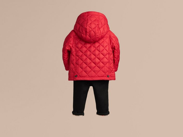 Check Detail Diamond-quilted Jacket in Bright Cherry Red - cell image 2