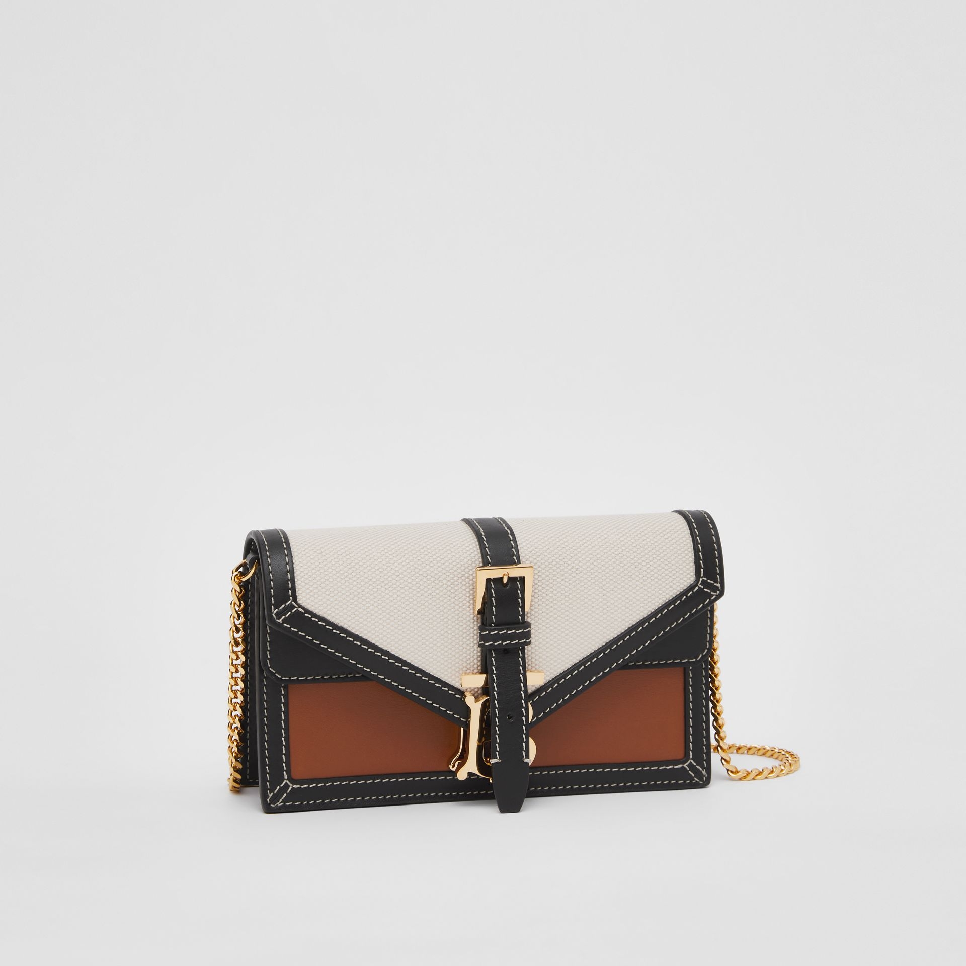 Mini Canvas and Leather TB Envelope Clutch in Tan - Women | Burberry - gallery image 4