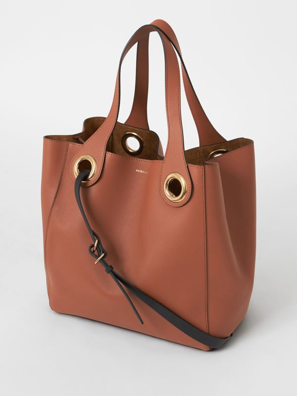 The Leather Grommet Detail Tote in Tan - Women | Burberry - cell image 2