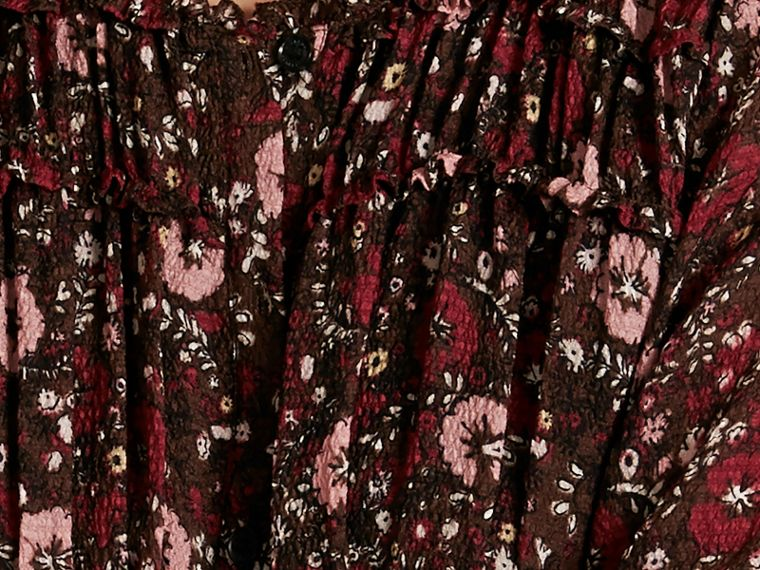 Carmine red Floral Silk Georgette Dress - cell image 1