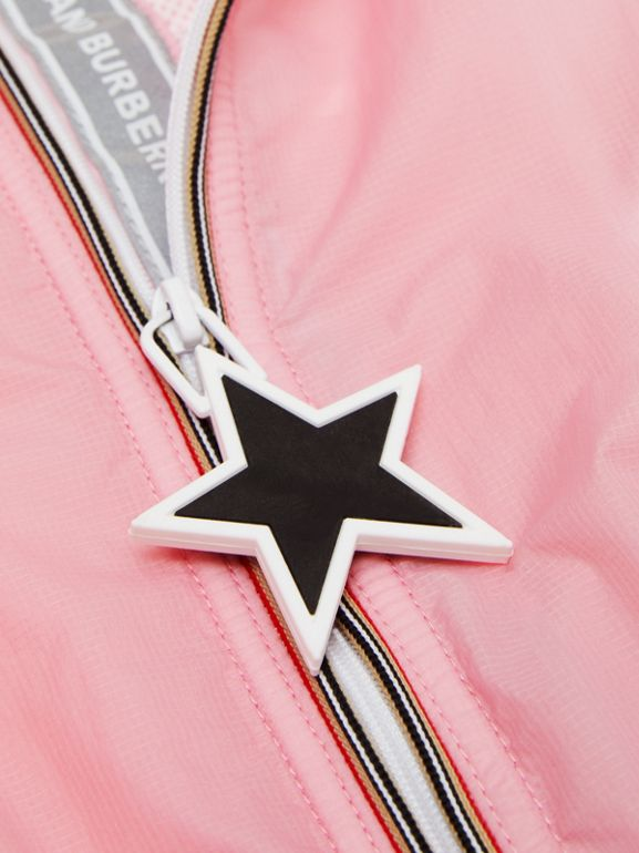 Star Detail Logo Print Lightweight Hooded Jacket in Candy Pink - Children | Burberry United Kingdom - cell image 1