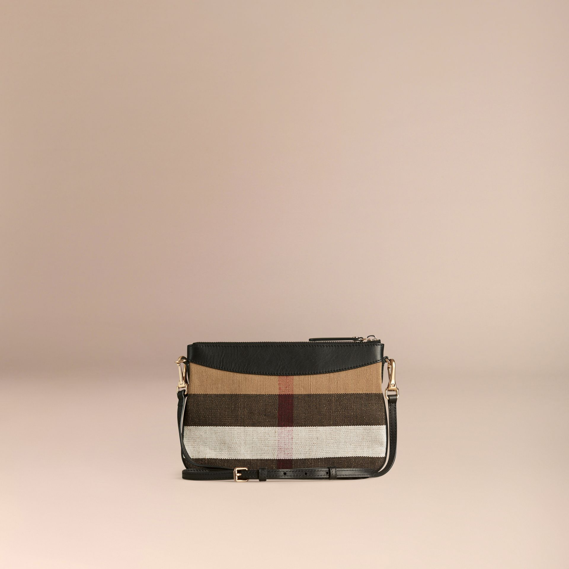 Black Canvas Check and Leather Clutch Bag Black - gallery image 4