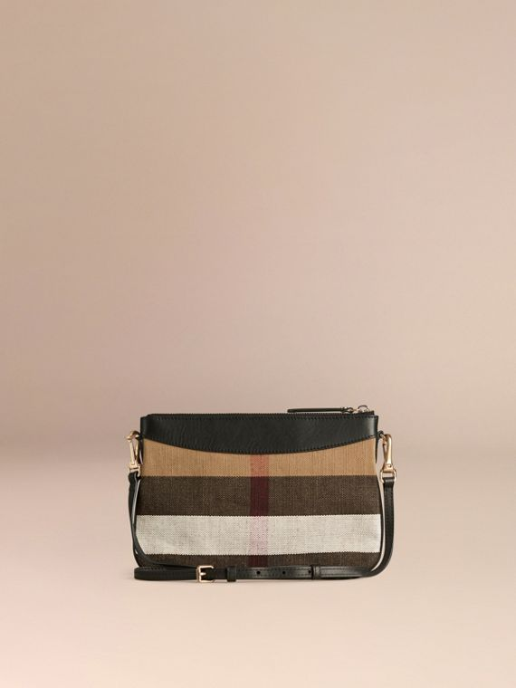 Black Canvas Check and Leather Clutch Bag Black - cell image 3