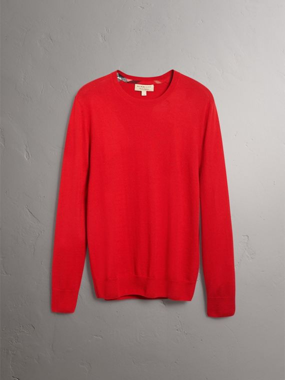 Check Jacquard Detail Cashmere Sweater in Parade Red - Men | Burberry - cell image 3