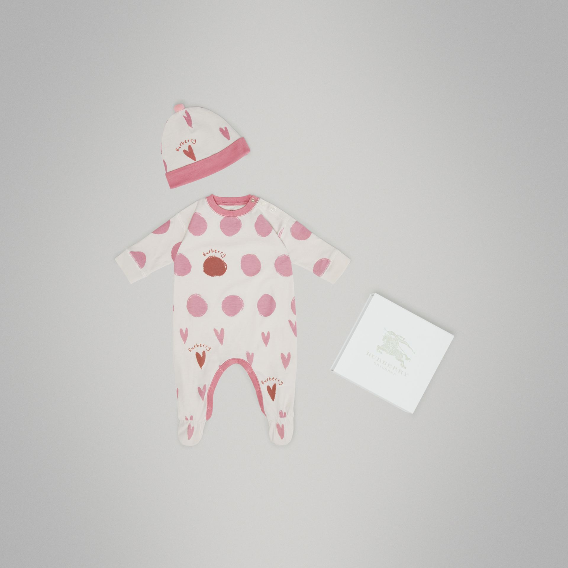 Spot and Heart Print Cotton Two-piece Baby Gift Set in Rose Pink - Children | Burberry - gallery image 0