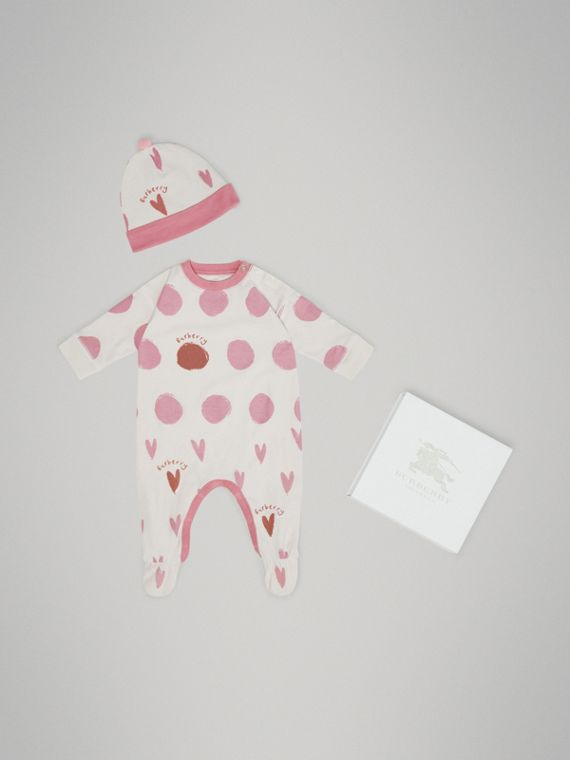 Spot and Heart Print Cotton Two-piece Baby Gift Set in Rose Pink