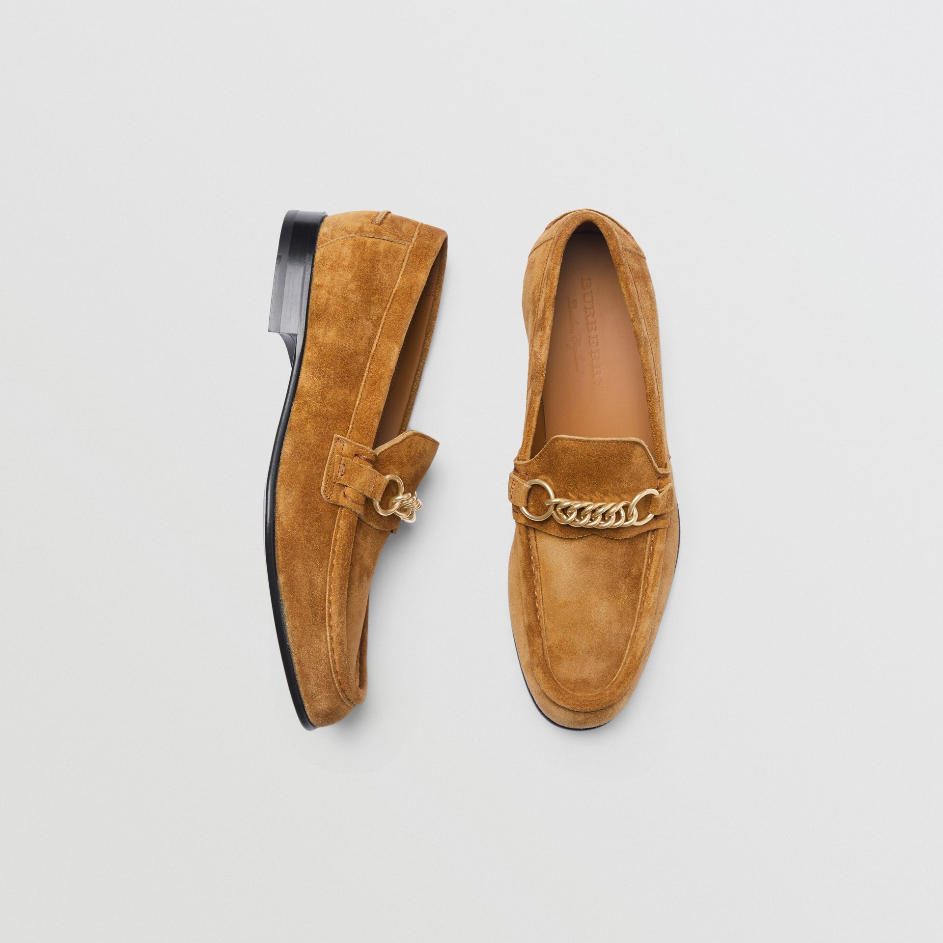 The Suede Link Loafer in Malt Brown - Men | Burberry - gallery image 0