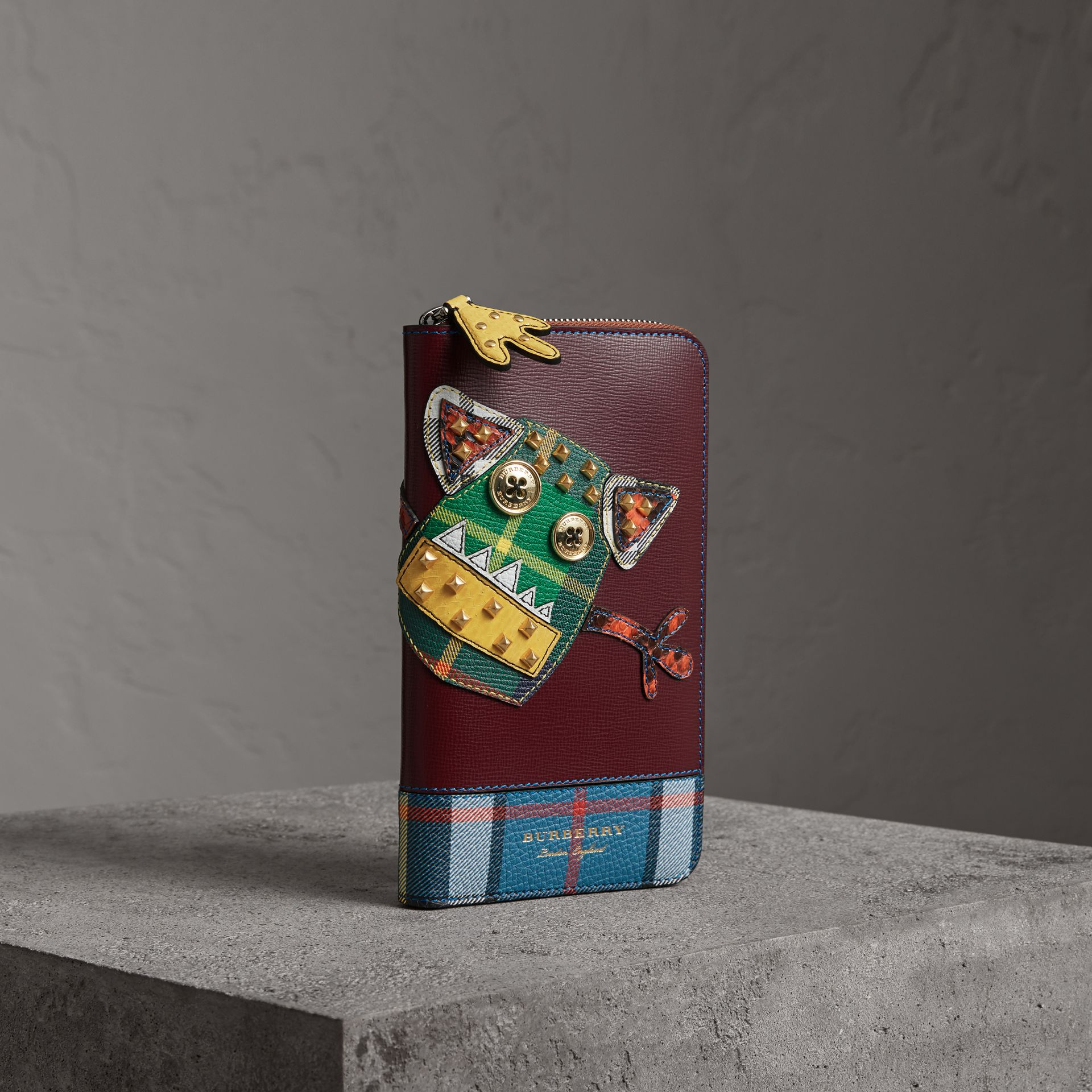 Creature Appliqué Leather Ziparound Wallet in Burgundy Red - Men | Burberry Singapore - gallery image 0