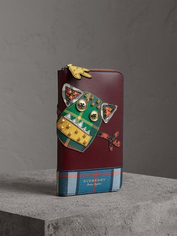 Creature Appliqué Leather Ziparound Wallet in Burgundy Red
