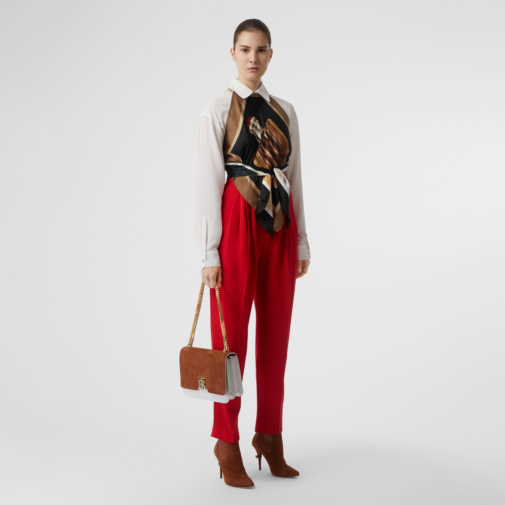 Pleat Detail Wool Tailored Trousers in Bright Red - Women | Burberry Australia - gallery image 0