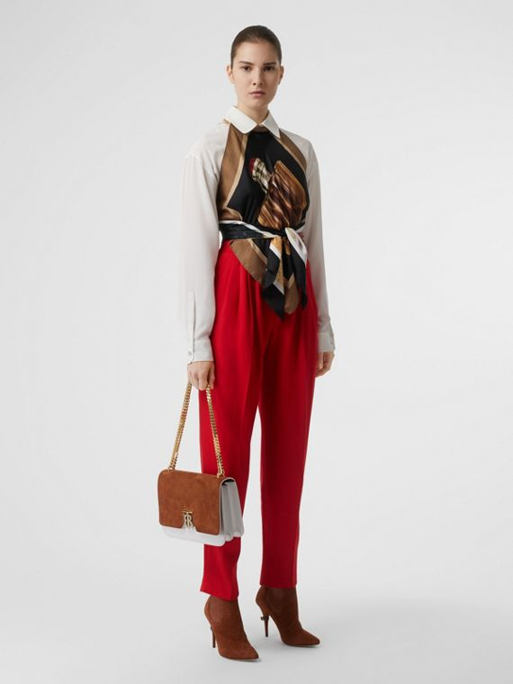 Pleat Detail Wool Tailored Trousers in Bright Red