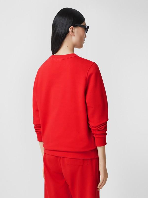 花押字圖案棉質寬版運動衫 (亮紅色) - 女款 | Burberry - cell image 2