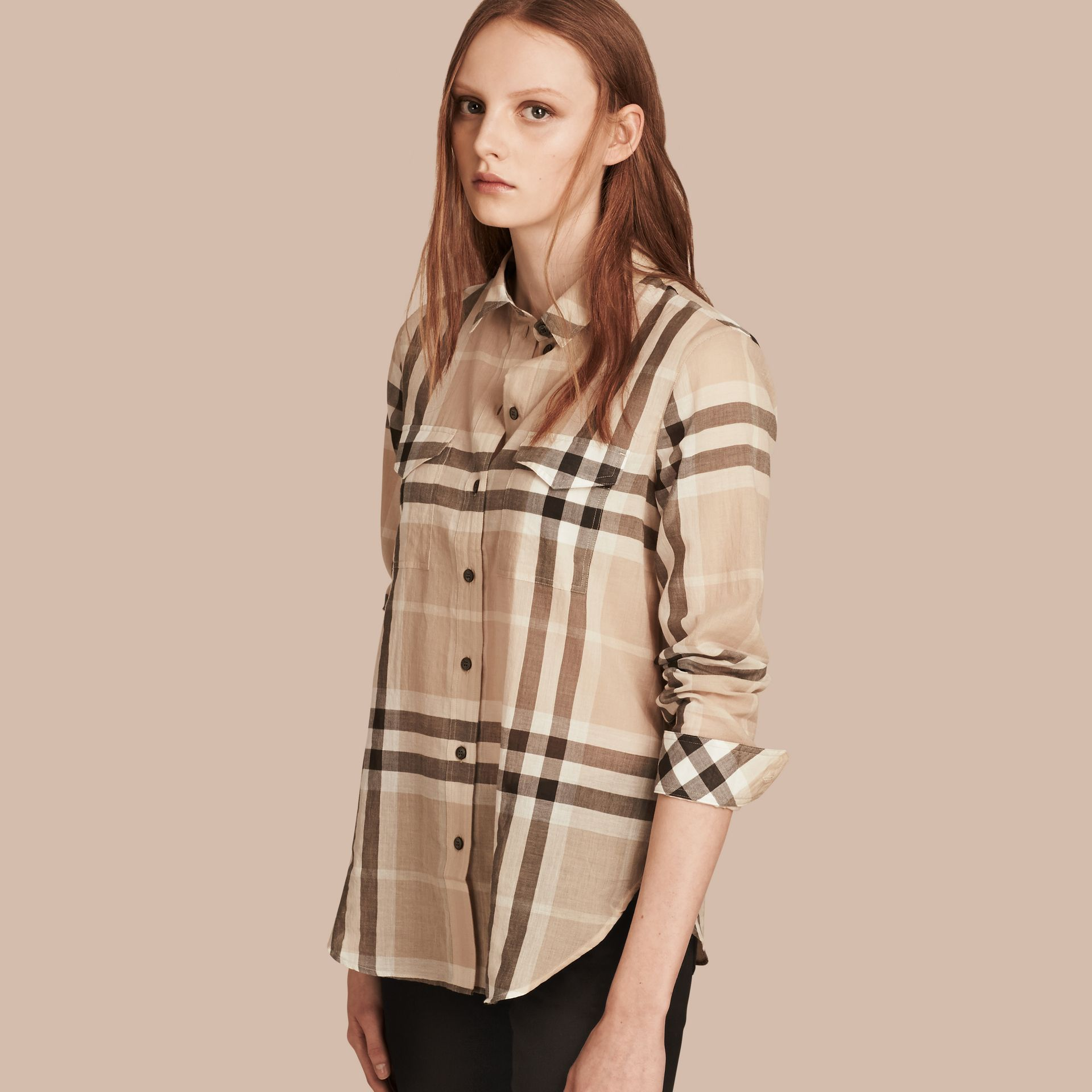 Stone Check Cotton Shirt Stone - gallery image 1