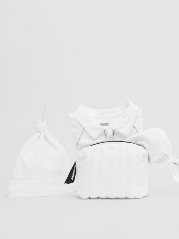 Coffret cadeau trois pièces pour bébé en coton stretch avec check (Blanc)